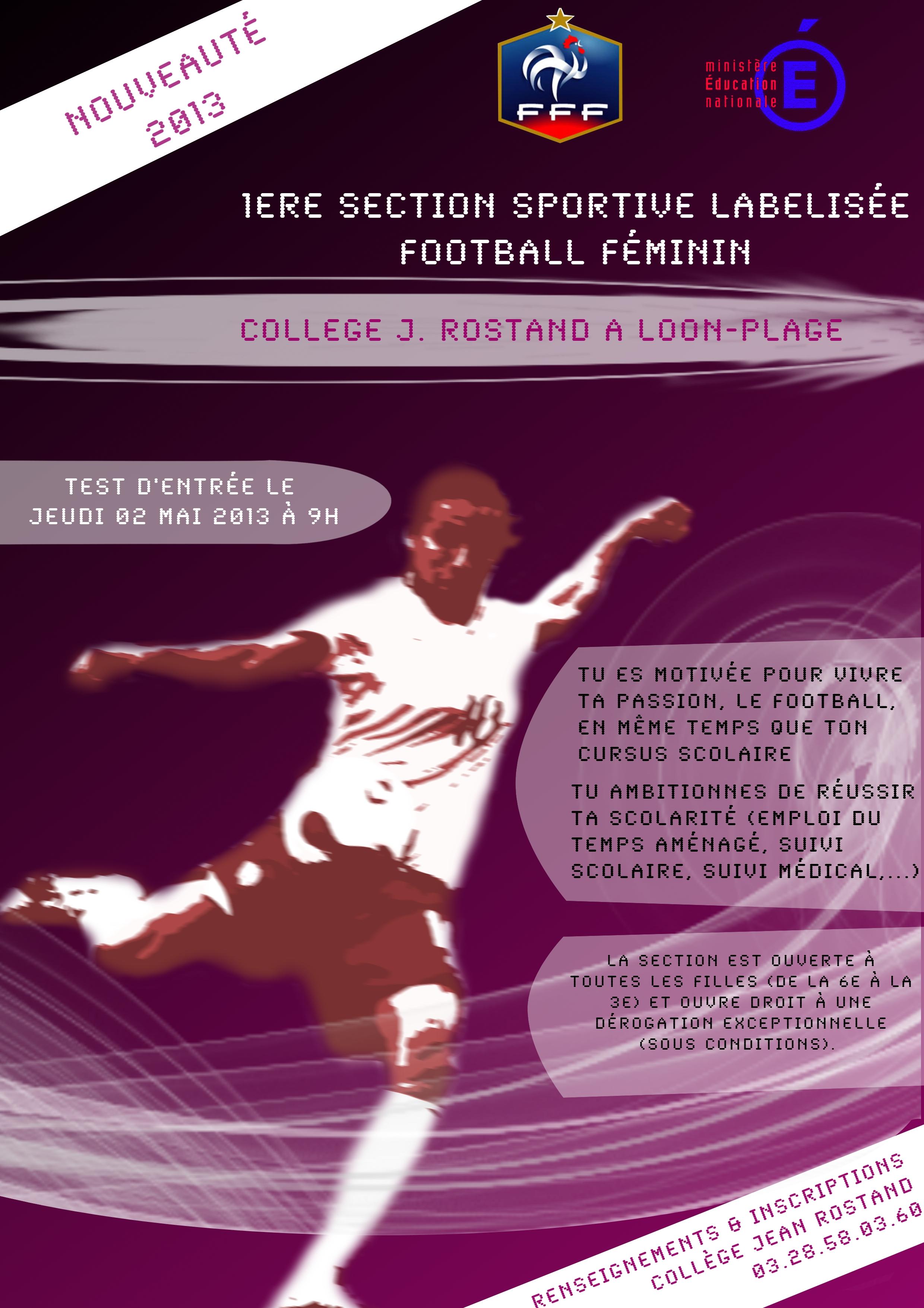 Football : première section sportive labéllisée «football féminin»